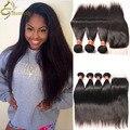 Grade 8A Brazilian Straight Hair With Closure Queen Hair 4 or 5 Bundles With Closure 4x4 Lace Closure With Hair Bundles