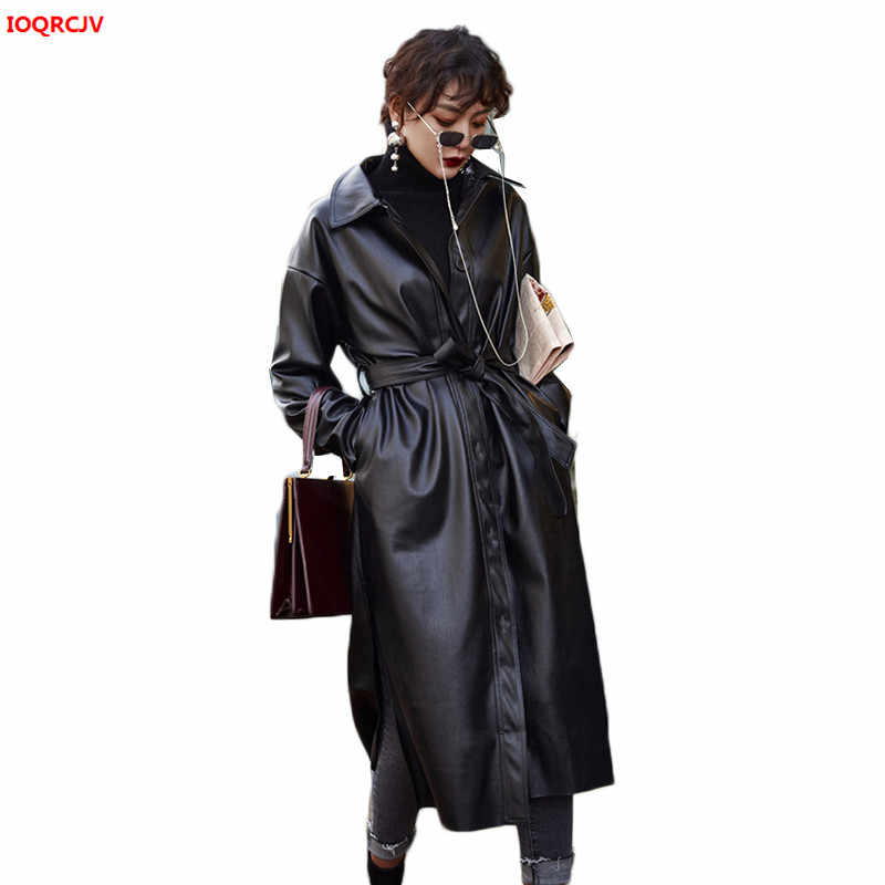Women Faux Leather Jacket With Belt 2019 Autumn Winter Plus Size Ladies Washed PU Leather Trench Coats Female Long Overcoat 1067