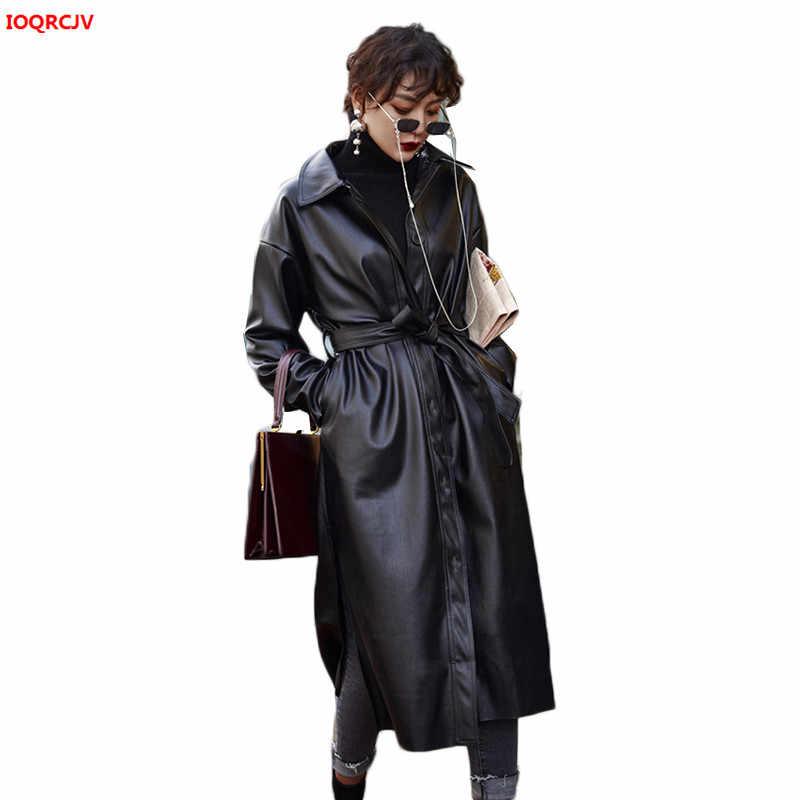女性のフェイクレザーベルト 2019 秋冬プラスサイズの女性洗浄 Pu レザートレンチコート女性ロングオーバーコート 1067