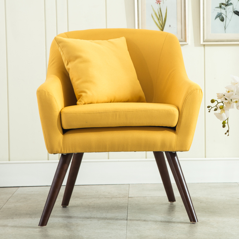 US $134.1 10% OFF|Mid Century Modern Style Armchair Sofa Chair Living Room  Furniture Single Sofa Design Wooden Legs Bedoorm Armchair Accent Chair-in  ...