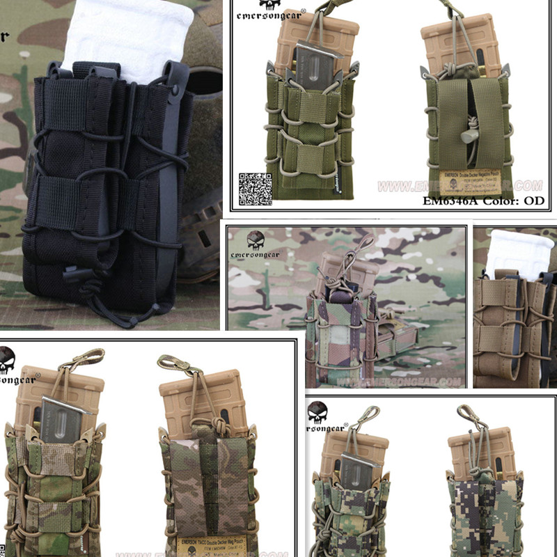 EMERSON Double Decker Magazine Pouch military army bag MOLLE EM6346 multicam black coyote brown OD ATFG AOR2 KH Hunting Mag