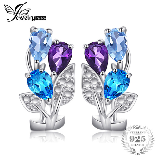 Jewelrypalace Multicolor 2 5ct Genuine Amethyst Blue Topaz Clip On Earrings 925 Sterling Silver Nice
