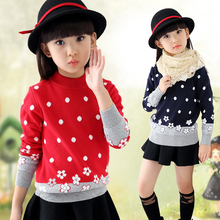 2016 Children Clothing Cotton O-Neck Dot Floral Sweater for Baby Girls Pullover Coats  Girls Autumn Sweater Out Wear Clothes