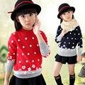 Ropa de los niños del Algodón Del O-cuello de Punto Floral Suéter para Las Niñas Suéter Suéter de Las Muchachas Del Desgaste De La Ropa