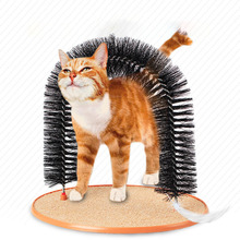 Cat Toy Self Groomer With Round Fleece Base Brush Toys For Pets Scratching Devices Interactive