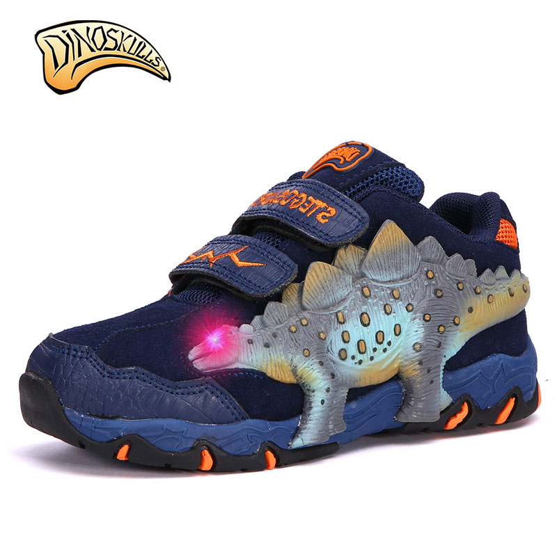 Dinoskulls 2018 Spring Autumn Children Shoes Kids Boys Sneakers Fashion Sport Casual Breathable Shoes Running Shoe 3D Dinosaur new children s shoes in the spring of autumn boy girls running shoes casual shoes eur 31 37 yxx