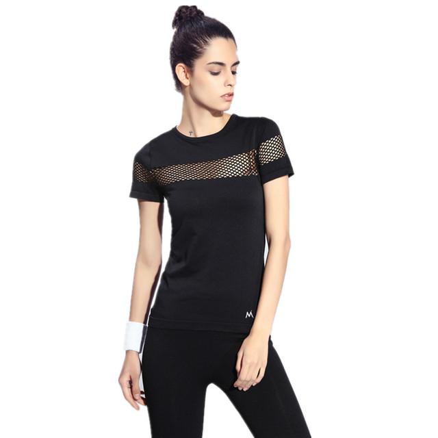 S-L7 Colores Slim Camiseta Mujeres Tops Activos Ahueca Hacia Fuera Transpirable Camiseta de Algodón de Moda de Manga Corta Camisetas Para la Camiseta de Las Mujeres