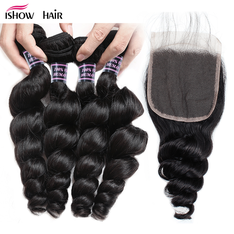 Ishow Hair Raw Indian Loose Wave Human Hair Bundles With Lace Closure Non Remy Hair 4 Bundles With Closure With Baby Hair