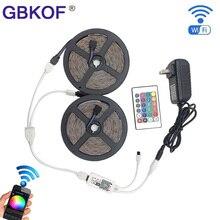 IP20 / IP65 waterproof RGB LED Strip light 5M 10M LED lighting 3528 2835 SMD LED  Tape+DC 12V Power Adapter+WiFi/ 24key Control