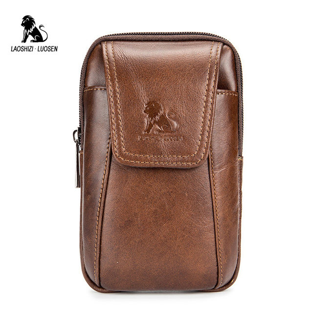 cbaa7a59b0e2 LAOSHIZI LUOSEN Fashion Cowhide Men s Waist Bags for Phone Bum Bag Fanny  Pack Hip Bag Belt Genuine Leather Money Belt Bag