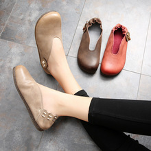 Handmade Retro Solid Color Womens Shoes 2019 Spring New Casual Wild Leather Soft Bottom