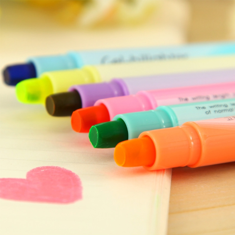 6Pcs Watercolor Gel Pen Cute Highlighter Solid Accent Ink Maker Smooth Writing