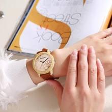FANTEEDA New Women's Leather-band Wooden Frame Wristwatch Womens Quartz Watch Jewelry Gifts TT@88