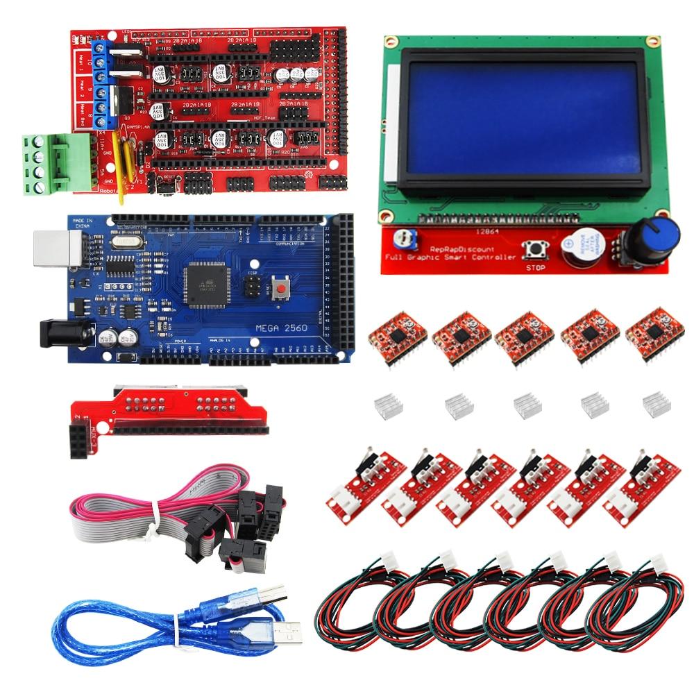 HAILANGNIAO CNC 3D Imprimante Kit pour Mega 2560 R3 + RAMPES 1.4 contrôleur + LCD 12864 + 6 Fin de Course Endstop + 5 A4988 pas à pas