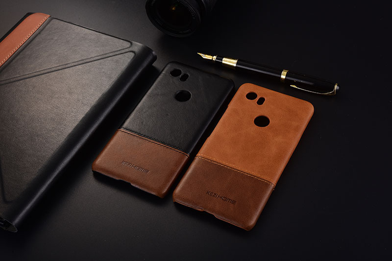 Case For Google Pixel 2 XL Kezihome Luxury Hit Color Genuine Leather Hard Back Cover For Google Pixel2 XL 6.0'' Phone Cases