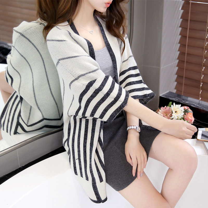 2018 New Hot Autumn Women loose bat sleeve striped knit shawl cardigan sweater long section sweater Lady Tops SW023