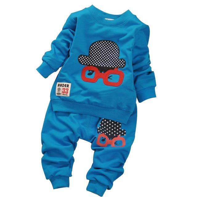2017 Spring Autumn new 100% cotton Long-sleeved t shirt & 1 pants 2 PCS baby clothing set 0-3 year baby boy & girls suit set