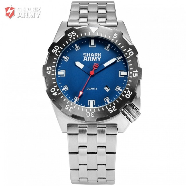 Shark Army Top Brand Man Watch Luminous 10ATM Water Resistant Blue Surfing Military Full Steel Quartz Sport Wristwatches /SAW188
