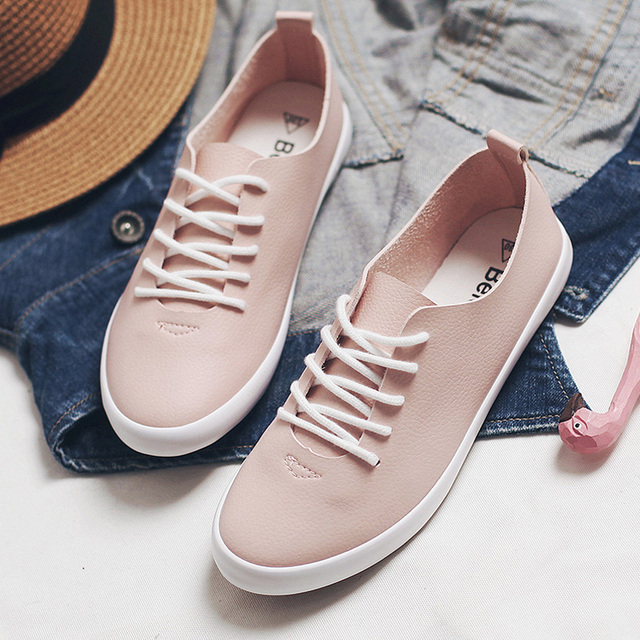 Pink Sneakers Lace Up Spring Leather Shoes