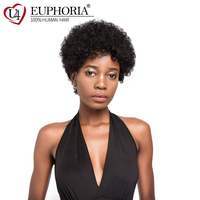Afro Kinky Curly Human Hair Wigs For Women Euphoria Brazilian 6inch Short Bob Wig Natural Black Red Wine Color Non Remy Hair Wig