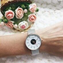 SINOBI Brand Top Luxury Ultrathin Women Watches Casual Sliver Quartz Wristwatches Creative Mesh Strap Watch Montre Femme Relojes