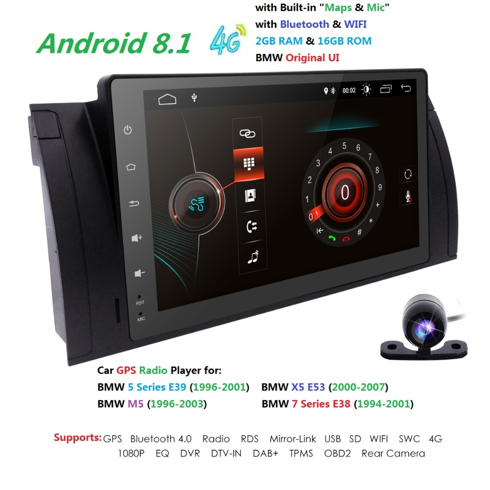 9 Android8.1 автомобиль не DVD радио мультимедиа для BMW E39 X5 M5 E53 с 4 GWiFi BT gps QuadCore 2 г + 16G Встроенная память DVR RDS SWC CAM MAP DAB