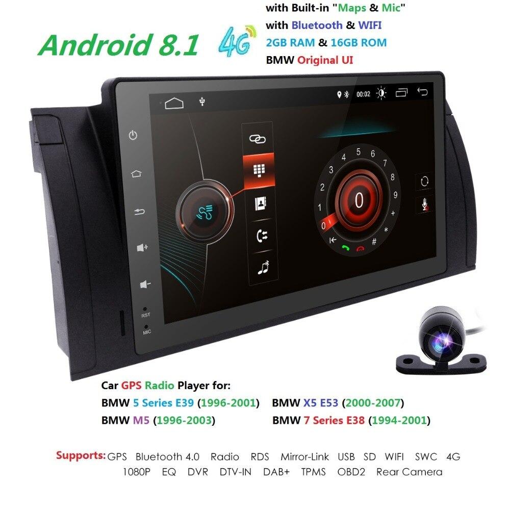 9Android8.1 Car NO DVD Radio multimedia for BMW E39 X5 M5 E53 with 4GWiFi BT GPS QuadCore 2GRAM+16G ROM DVR RDS SWC CAM MAP DAB