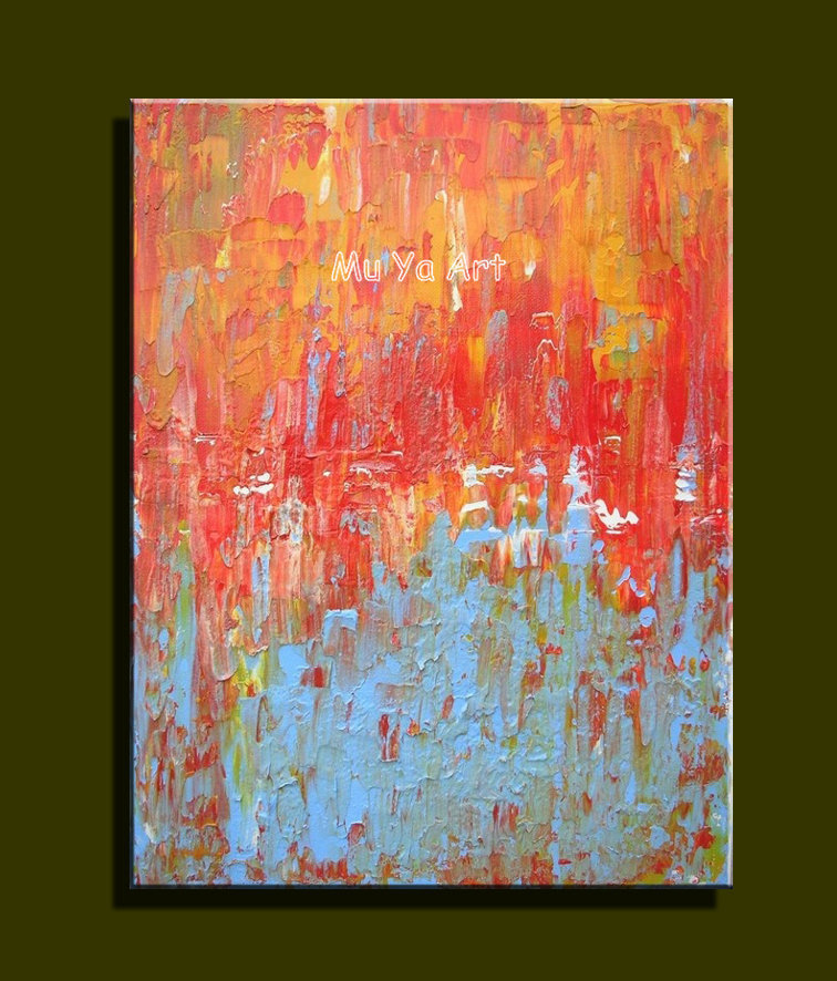 Huge Abstract modern canvas wall hand famous red textured font b Knife b font oil painting