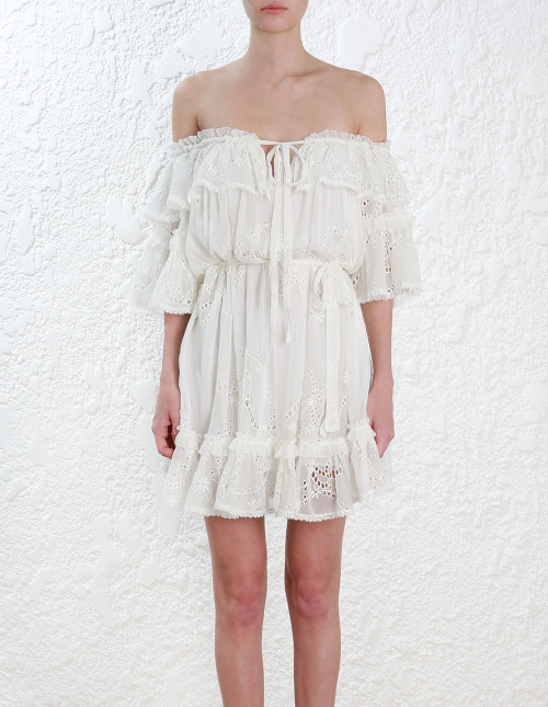 New Summer Holiday One Piece White Mini Dress Off The Shoulder Fashion by Amber Smile