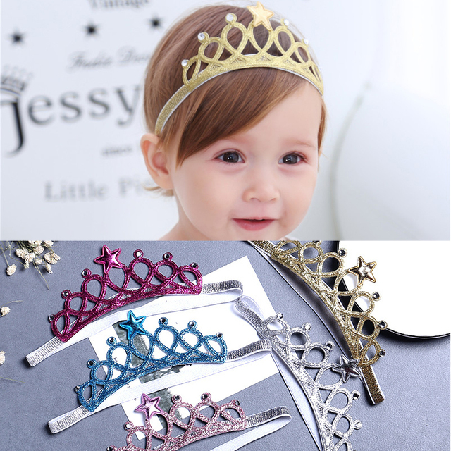 M MISM Kids Star Tiaras Rhinestone Headbands Crown Colorful Hair Bands Newborn Cute Shiny Hair Accessories For Birthday Party