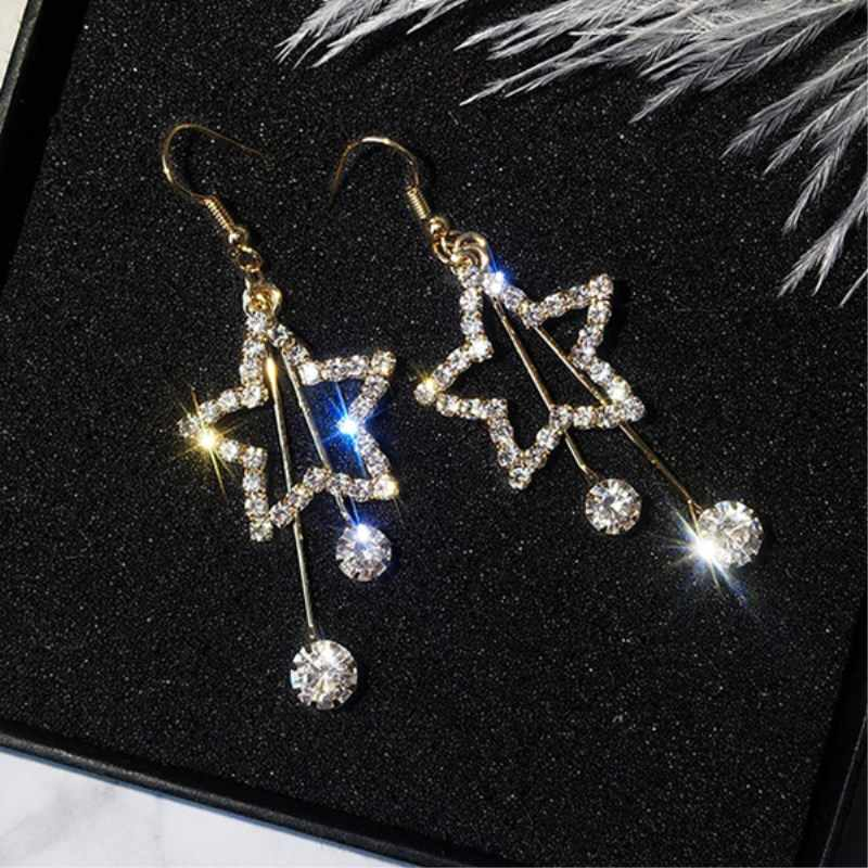 2019 New Style Bling Crystal Brincos Hollow Star Long Tassel Drop Earrings for Women Exquisite Rhinestone Earing Fashion Jewelry
