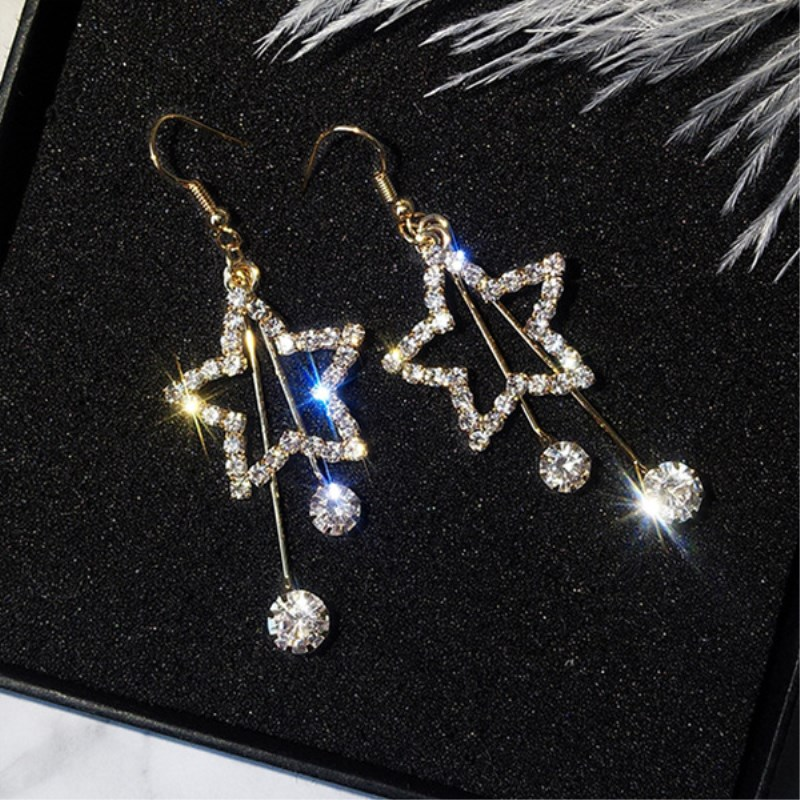 New Style Bling Crystal Brincos Hollow Star Long Tassel Drop Earrings For Women Exquisite Rhinestone Earing Fashion Jewelry