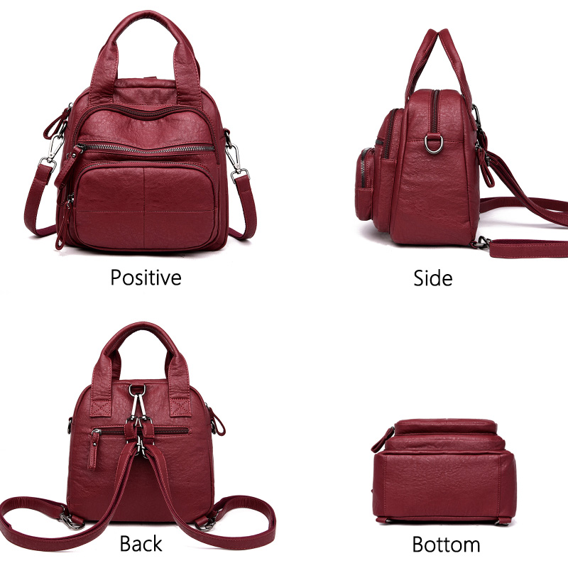 Women 39 sbackpack high quality leather zipper backpack female student shoulder bag mochila multifunctional portable travelbackpac in Backpacks from Luggage amp Bags