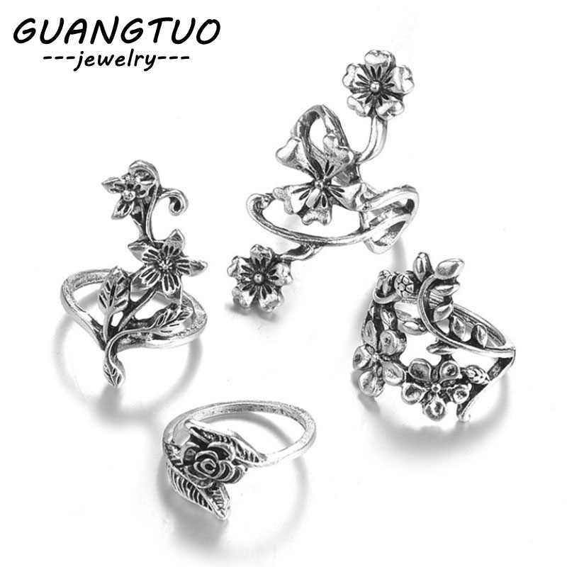 4PCS/SET Vintage Antique Silver Hollow Carved Flowers Finger Rings For Women New Fashion Rings Jewelry Bague Femmes Gift RB008
