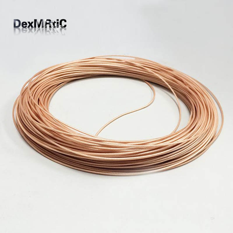 1Meter  RG178 High Temperature Brown Transparent OD1.8 RF Coaxial Cable
