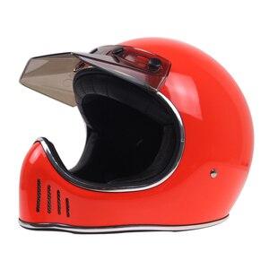 Легкий мотоциклетный шлем из стекловолокна ручной работы, винтажный Полнолицевой шлем, уличный велосипед-Чоппер, велосипедный шлем с козыр...