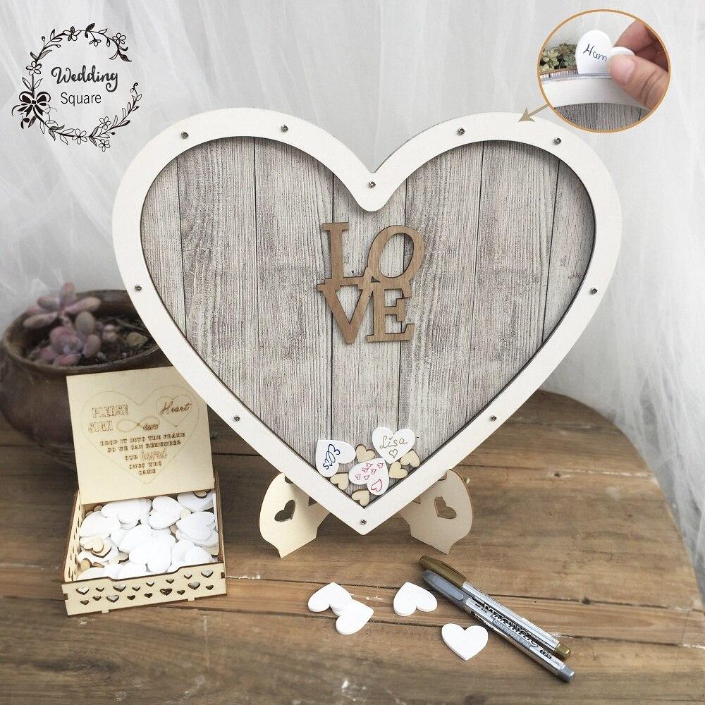 Heart shape Wedding guest book Decoration Rustic Sweet Heart Drop box Wedding drop box 3D Guestbook