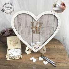 В форме сердца Свадебная книга для гостей украшение деревенское сладкое подвесное сердечко коробка Свадебная упаковочная коробка 3D Гостевая книга деревянная коробка