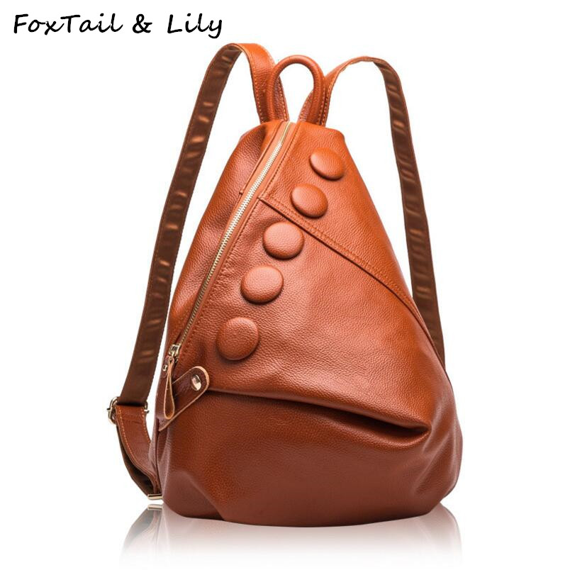 Foxtail & Lily Luxury Brand Real Genuine Leather Backpack Women Fashionable School Bags For Teenage Girls Double Shoulder Bags