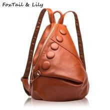 Лисохвост и Лили Элитный бренд натуральной натуральная кожа рюкзак женские модные школьные сумки для девочек-подростков двойной сумки на плечо