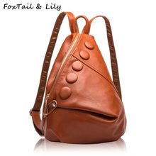 FoxTail   Lily Luxury Brand Real Genuine Leather Backpack Women Fashionable School  Bags for Teenage Girls bc4998fd22