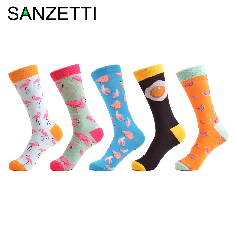 SANZETTI 5 pairs/lot Mens Funny Combed Cotton Socks Flamingos Egg Pattern Dress Party Socks Casual Crew Socks Wedding Gifts