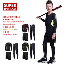 Children Running Basketball Compression Set Kids Boy Training Tracksuit Sportswear Jogging Suits Gym Clothing Men Fitness Tights(China)