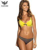 2016 Sexy Criss Cross Bikini Brazilian Bandage Swimsuit Women Push Up Swimwear Bikini Set Wrap Top
