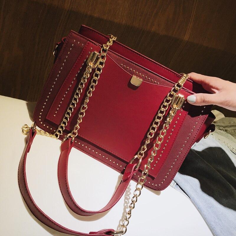 Big Nero Dell'unità brown Tracolla Bag Elaborazione Catena Il 102 Retrò Alta Qualità Cy Matte Delle Di Europeo Moda Femminile Rivetto Cuoio A Borse Stile rosso Donne Borsa 4xUIwAqSPn
