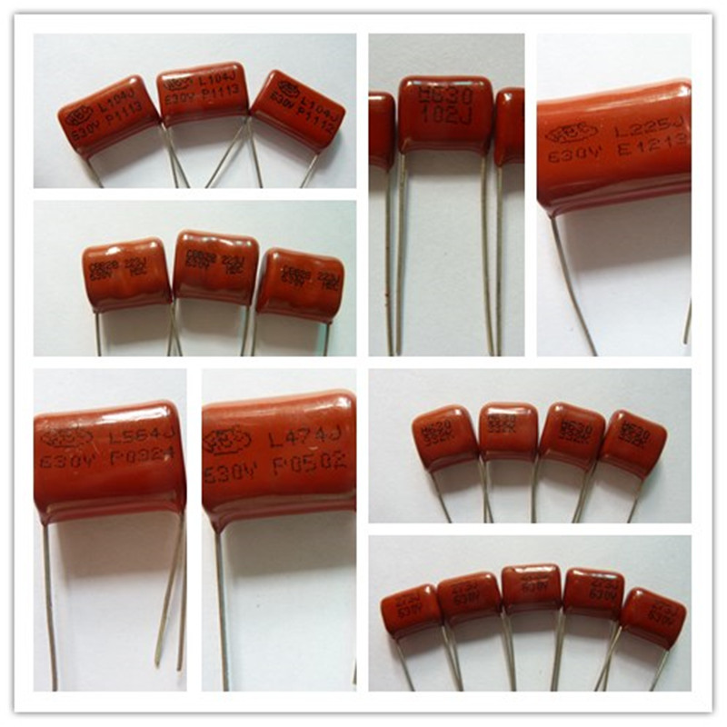 10pcs CBB Capacitor 630V 102~225 1nF~2.2uF Metallized Polypropylene Film Capacitor All Values