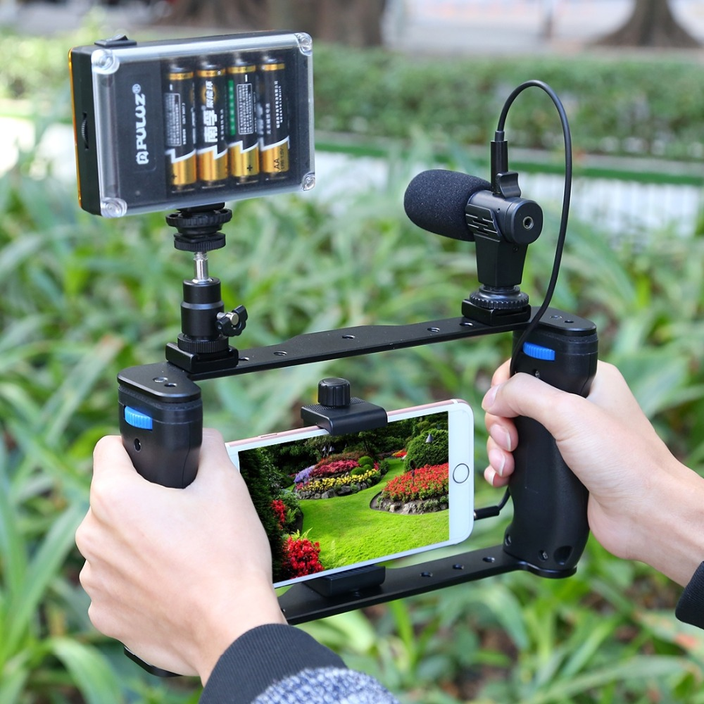 PULUZ Live Broadcast Smartphone Cage Video Rig Filmmaking Recording Handle Stabilizer Bracket For IPhone ,Galaxy,Huawei,Xiaomi