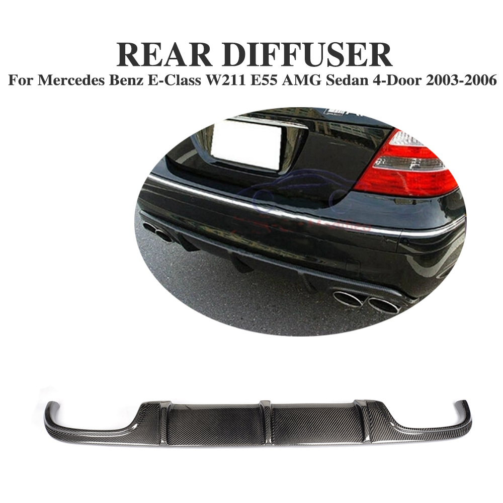 Carbon Fiber Rear Bumper Diffuser Lip Spoiler for Mercedes Benz E-Class <font><b>W211</b></font> <font><b>E55</b></font> <font><b>AMG</b></font> Sedan 4-Door 2002 - 2006 image