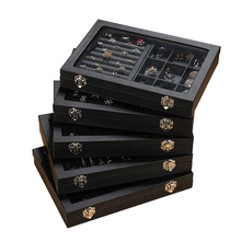 Pordoa de Cuero Joyería de Moda Caja de Almacenamiento Organizador Exhibición de La Joyería Titular de la Joyería Del Anillo Aretes Collar de Caja de Embalaje Regalos