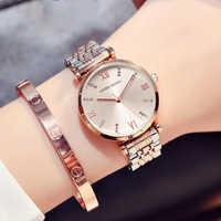 Gorące proste zegarki kobiety moda stalowa zegarek diament Casual Ladies Wrist Watch 2018 zegar kwarcowy dla montre femme zegarek damski